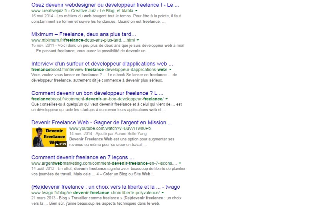 devenir freelance web - Recherche Google