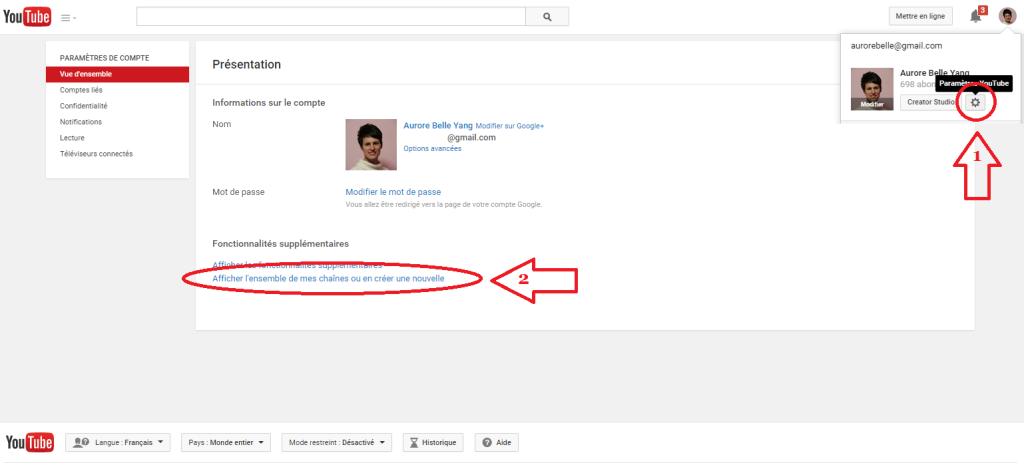 créer chaine youtube