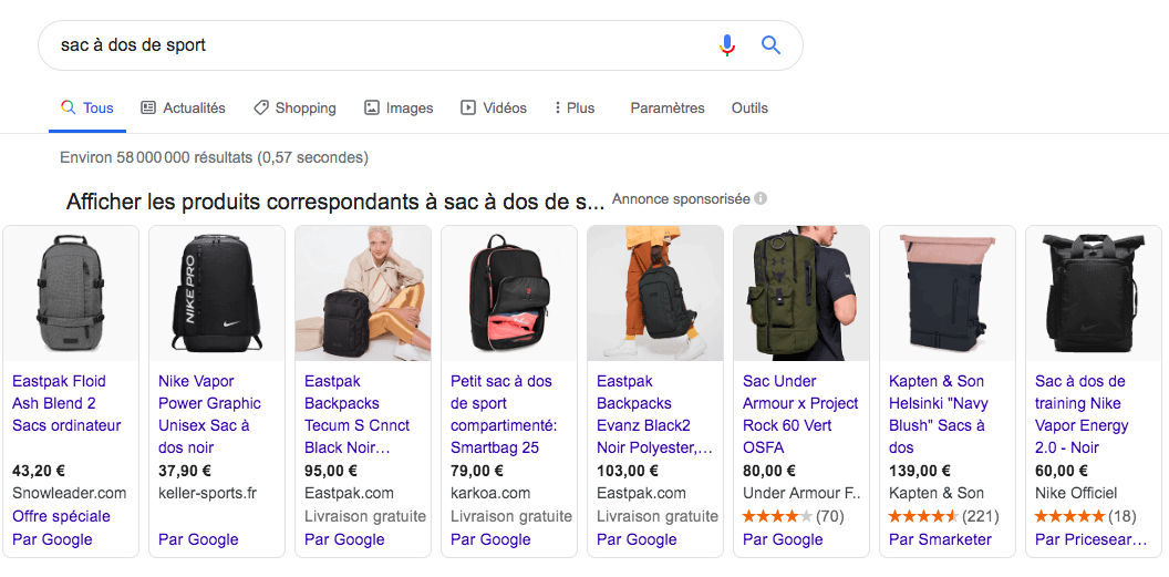 Google shopping Ads France